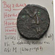 Monedas Imperio Bizantino: IMPERIO BIZANTINO! HERACLIO 610-641! AE FOLLIS CONSTANTINOPLA 8,54 G. / 24 MM.. Lote 113869759