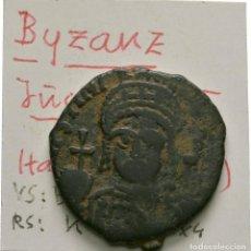 Monedas Imperio Bizantino: IMPERIO BIZANTINO! JUSTINO II (565 - 578)! AE MEDIO FOLLIS. THEOUPOLIS EBC- 9,54 G // 26 MM. ESCASO. Lote 114668191