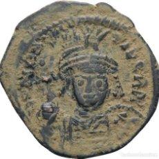 Monedas Imperio Bizantino: IMPERIO BIZANTINO! MAURICIO TIBERIO 582-602! MEDIO FOLLIS (20 NUMMI) MBC. Lote 117027923