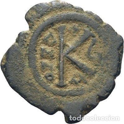 IMPERIO BIZANTINO! MAURICIO TIBERIO, 582-602! MEDIO FOLLIS (BRONCE)! MBC (Numismática - Periodo Antiguo - Imperio Bizantino)