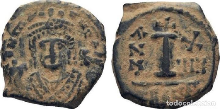 Monedas Imperio Bizantino: IMPERIO BIZANTINO. MAURICIO TIBERIO. 10 NUMMI. ANTIOQUIA 582-602 d.c. - Foto 3 - 117452423