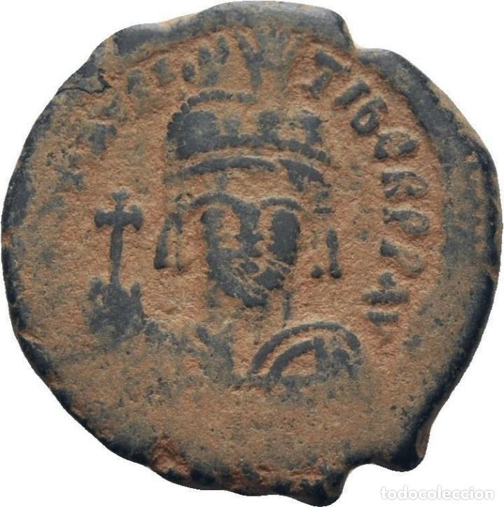 IMPERIO BIZANTINO. MAURICIO TIBERIO. FOLLIS. CONSTANTINOPLA 582-602 D.C. (Numismática - Periodo Antiguo - Imperio Bizantino)