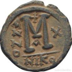 Monedas Imperio Bizantino: IMPERIO BIZANTINO! JUSTINO II Y SOFIA (565 - 578)! FOLLIS (BRONCE). NICOMEDIA 12,5G MBC+ . Lote 118097503