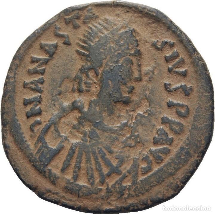 Monedas Imperio Bizantino: IMPERIO BIZANTINO! Anastasio, 491-518 Follis (bronce)! Constantinopla! EBC- - Foto 2 - 118097931