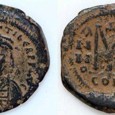 Monedas Imperio Bizantino: MONEDA BIZANTINA AE 29 FOLLIS MAURICIO TIBERIO 582-602 AD CONSTANTINOPLA AÑO 14. Lote 140544790