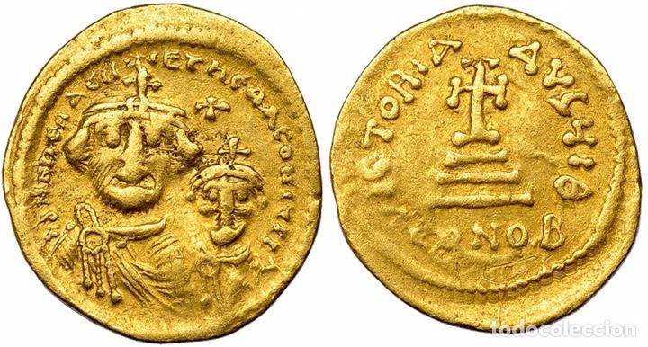 SÓLIDO HERACLIO Y HERACLIO CONSTANTINO. SÓLIDO. CONSTANTINOPLA, Q (610-641). R/ CRUZ SOBRE 3 GRADAS (Numismática - Periodo Antiguo - Imperio Bizantino)
