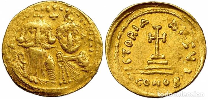 SÓLIDO CONSTANS II Y CONSTANTINO IV. SÓLIDO. CONSTANTINOPLA, I (641-668). R/ CRUZ SOBRE 3 GRADAS (Numismática - Periodo Antiguo - Imperio Bizantino)