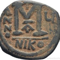Monedas Imperio Bizantino: IMPERIO BIZANTINO. JUSTINO II Y SOFÍA. FOLLIS. NICOMEDIA. Lote 160558574