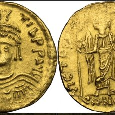 Monedas Imperio Bizantino: SÓLIDO MAURICE TIBERIUS (582-602). CONSTANTINOPLA, R/ VICTORIA STANDING FACING,. Lote 167030740