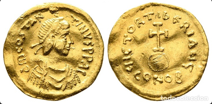TIBERIUS II CONSTANTINE AD 578-582. CONSTANTINOPLE. SEMISSIS AV (Numismática - Periodo Antiguo - Imperio Bizantino)