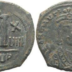 Monedas Imperio Bizantino: MAURICIO TIBERIO (582-602). FOLLIS, ANTIOQUÍA, AÑO 18 = 599-600. SEAR 533. EBC. Lote 178379807