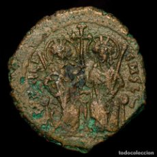 Monedas Imperio Bizantino: JUSTIN II, SOPHIA 565-578 Æ FOLLIS THEOUPOLIS M-ANNO-ЧIII-Γ//ΤHЄЧP•. Lote 192957306