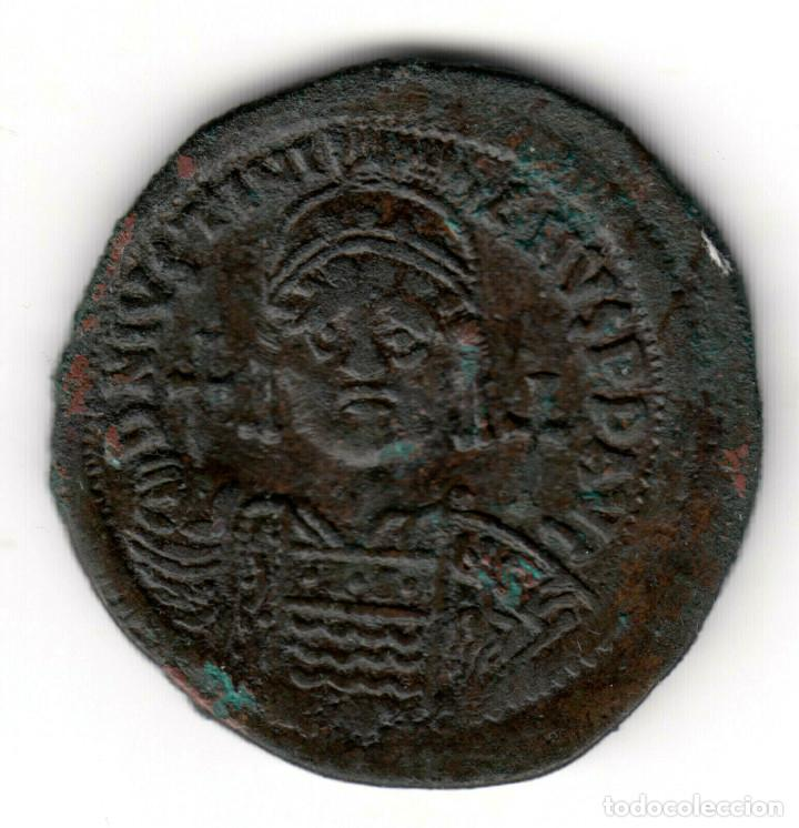 IMPERIO BIZANTINO: 40 NUMMI BRONCE JUSTINIANO I (527-565 D.C.) CONSTANTINOPLA (Numismática - Periodo Antiguo - Imperio Bizantino)