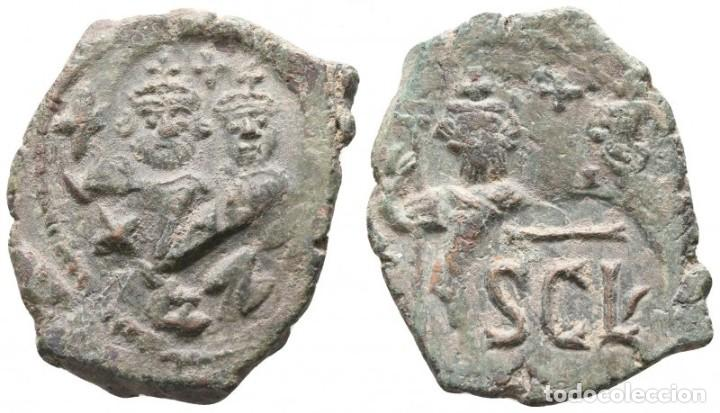 HERACLIO CON HERACLIO CONSTANTINO 610-641. CECA INCIERTA SICILIANA. FOLLIS Æ. 29 MM., 7,83 G. EBC- (Numismática - Periodo Antiguo - Imperio Bizantino)