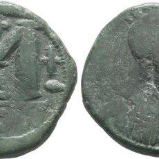 Monedas Imperio Bizantino: JUSTINIANO I. (527 - 565). CONSTANTINOPLA, FOLLIS, 527. ANV: D IVSTINI - ANVS P P AVC. MBC-. Lote 199244646