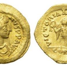 Monedas Imperio Bizantino: IUSTINUS I. (518 - 527 AD). TREMISSIS (ORO). AD 518 - 527 CONSTANTINÓPOLIS.. Lote 204693940