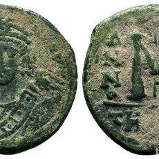Monedas Imperio Bizantino: MAURICIO TIBERIO (582-602), AE FOLLIS, 11.5 GR 28 MM MBC. Lote 213923697