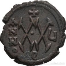 Monedas Imperio Bizantino: IMPERIO BIZANTINO! MAURICIO TIBERIO 582-602! MEDIO FOLLIS (20 NUMMI) EBC+. MUY ESCASA Y MUY BONITA. Lote 252609760