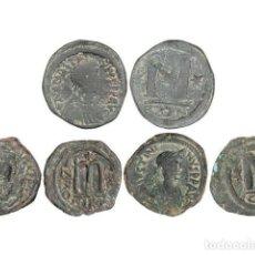 Monedas Imperio Bizantino: MONEDAS BIZANTINAS, LOTE 3 MONEDAS FOLLIS, 409 A 602 D.C, CONSTANTINOPLA (2), NICOMEDIA. Lote 262522140