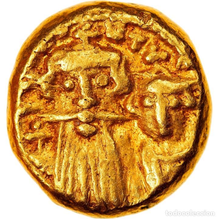 MONEDA, CONSTANS II AND CONSTANTINE IV, SOLIDUS, 659-668, CARTHAGE, MBC, ORO (Numismática - Periodo Antiguo - Imperio Bizantino)