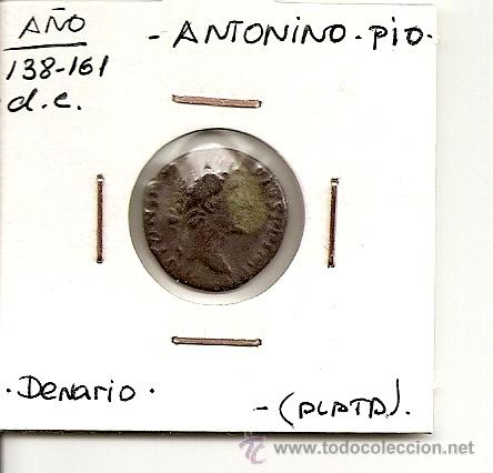 EXCELENTE DENARIO DE PLATA,IMPERIO ROMANO EMPERADOR ANTONINO.PIO(138-161 D.C)REVERSO POR DEFINIR MBC (Numismática - Periodo Antiguo - Roma Imperio)