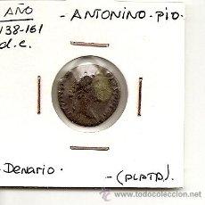 Monedas Imperio Romano: EXCELENTE DENARIO DE PLATA,IMPERIO ROMANO EMPERADOR ANTONINO.PIO(138-161 D.C)REVERSO POR DEFINIR MBC. Lote 26462108