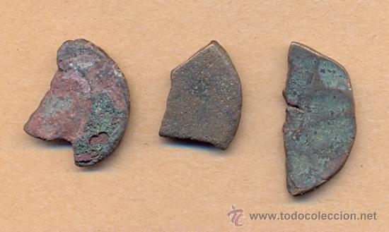 MONEDA 615 TRES MONEDAS ROMANAS CORTADAS ROMA IMPERIO TRES TROZOS DE HISTORIA PARA CLASIFICAR TO (Numismática - Periodo Antiguo - Roma Imperio)