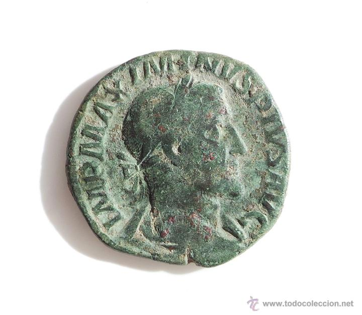 IMPERIO ROMANO. SEXTERCIO ROMANO MAXIMO PIO (Numismática - Periodo Antiguo - Roma Imperio)