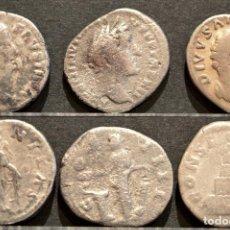 Monedas Imperio Romano: LOTE 3 DENARIOS PLATA DENARIO ROMA IMPERIO FAUSTINA MADRE Y ANTONINO PIO. Lote 83364086