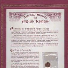 Monedas Imperio Romano: AUTENTICA MONEDA DEL IMPERIO ROMANO DE MAS DE 1500 AÑOS CON CERTIFICADO DE AUTENTICIDAD. Lote 109386499