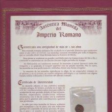 Monedas Imperio Romano: AUTENTICA MONEDA DEL IMPERIO ROMANO DE MAS DE 1500 AÑOS CON CERTIFICADO DE AUTENTICIDAD. Lote 109386627