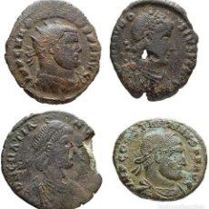 Monedas Imperio Romano: MAXIMIANO HERCÚLEO + CONSTANTINO I + TEODOSIO I + VALENTINIANO II.. Lote 125232679