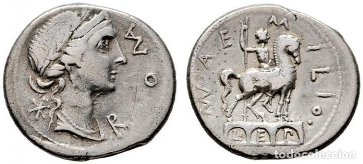 AEMILIA. DENARIO. H.113 A.C. ESTATUA ECUESTRE SOBRE PUENTE. MBC+. SUAVE TONO (Numismática - Periodo Antiguo - Roma Imperio)