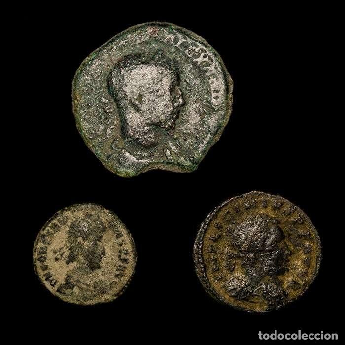 IMPERIO ROMANO - CONJUNTO DE 3 MONEDAS DE BRONCE. SIGLOS I-IV D.C. (Numismática - Periodo Antiguo - Roma Imperio)