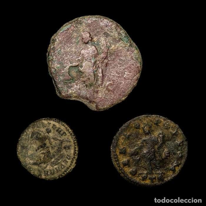 Monedas Imperio Romano: Imperio Romano - conjunto de 3 monedas de bronce. Siglos I-IV d.C. - Foto 2 - 147312278