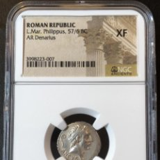 Monedas Imperio Romano: DENARIO ROMANO PLATA REPÚBLICA REPUBLICANO L. MAR. PHILIPPUS 57-56 BC NGC XF!!!. Lote 147487170