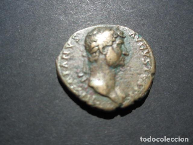 MONEDA DE 1 AS DE ADRIANO (117-138 D.C) PATINA MARRON BONITO RETRATO (Numismática - Periodo Antiguo - Roma Imperio)