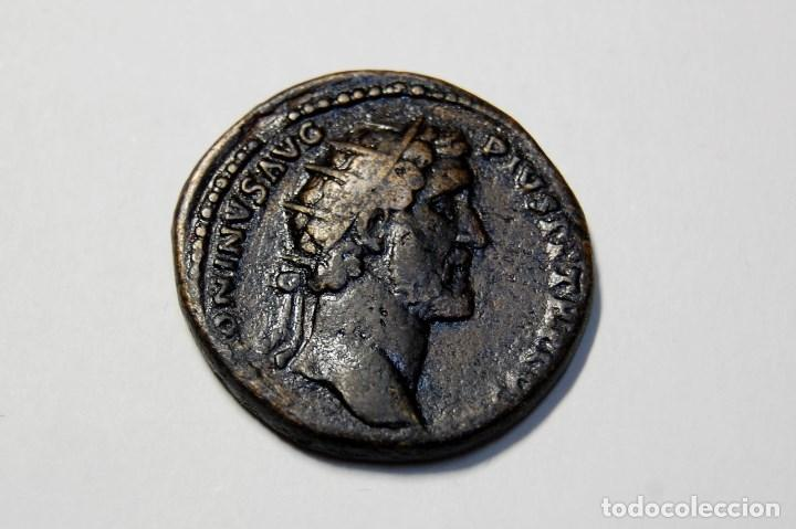 DUPONDIO ROMANO DEL EMPERADOR ANTONINO PIO.EXTRAORDINARIO ESTADO (Numismática - Periodo Antiguo - Roma Imperio)