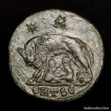 Monedas Imperio Romano: URBS ROMA, FOLLIS ACUÑADO EN TESALONICA SMTS? LOBA, ROMULO Y REMO. Lote 172395833