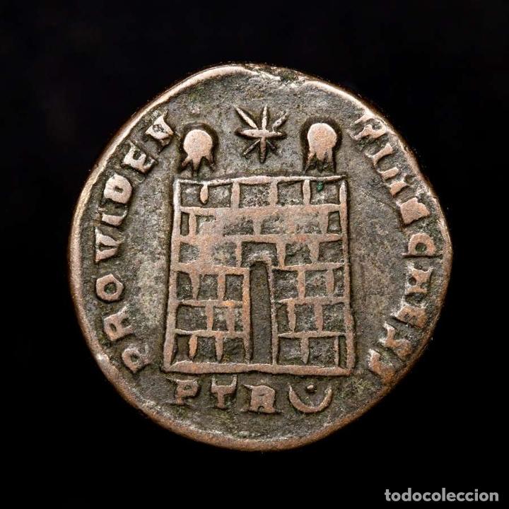 Monedas Imperio Romano: Constancio II cesar follis Trier PROVIDENTIAE CAESS PTR◡ (8226) - Foto 2 - 180333053