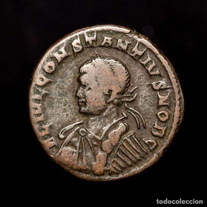 CONSTANCIO II CESAR FOLLIS TRIER PROVIDENTIAE CAESS PTR◡ (8226) (Numismática - Periodo Antiguo - Roma Imperio)