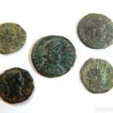 Monedas Imperio Romano: LOTE DE CINCO AUTÉNTICAS MONEDAS ROMANAS. Lote 182773097