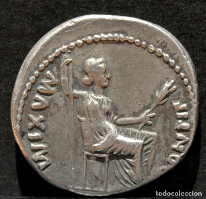 Monedas Imperio Romano: DENARIO DE TIBERIO DINASTÍA JULIA-CLAUDIA LUGDUNUM 15-16 dC RARA PATAS DE LA SILLA LISAS - Foto 3 - 196212690