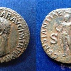 Monedas Imperio Romano: BONITA MONEDA ROMANA ROMA IMPERIAL IMPERIO AS CLAUDIO 42-43 DC EX-CNG EX-COLECCIÓN TONY HARDY. Lote 210946230