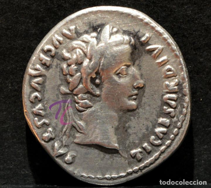 DENARIO DE TIBERIO DINASTÍA JULIA-CLAUDIA LUGDUNUM 15-16 DC RARA PATAS DE LA SILLA LISAS (Numismática - Periodo Antiguo - Roma Imperio)