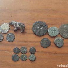Monedas Imperio Romano: LOTE 14 MONEDAS ANTIGUAS + OSO Y SELLO DE PLOMO.. Lote 221790861