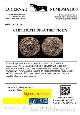 Monedas Imperio Romano: Maximiano Hercúleo (285-310 dC). Antoniniano. Roma. IOVI CONSERVAT - Foto 3 - 222700671