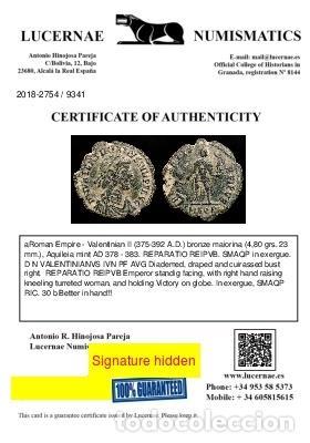 Monedas Imperio Romano: Valentiniano II (375-392 dC), maiorina, Aquileia. REPARATIO REIPVB - Foto 3 - 222701392