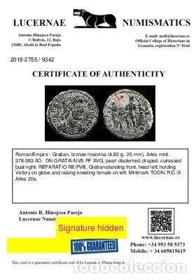 Monedas Imperio Romano: Graciano ( 378-383 dC ), Maiorina. Arles. REPARATIO REIPVB//.CON - Foto 3 - 222701578