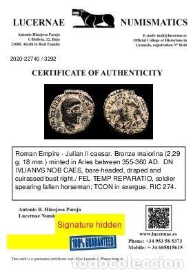 Monedas Imperio Romano: Juliano II cesar AE maiorina. Arles. FEL TEMP REPARATIO TCON (3292) - Foto 3 - 236532920